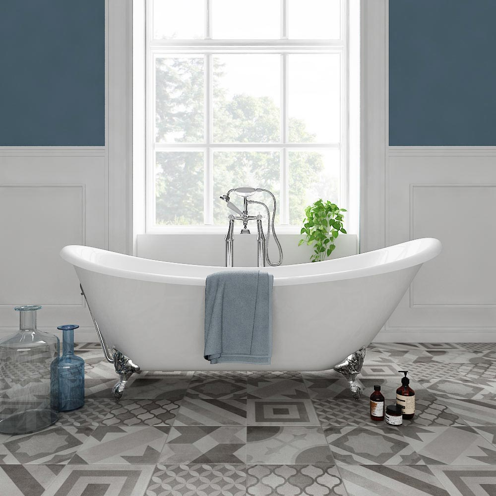 Drayton Cast Iron Bath with Chrome Feet (1690 x 760mm Slipper Roll Top) profile large image view 1