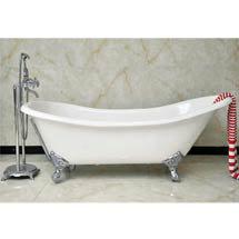 Drayton Cast Iron Bath with Chrome Feet (1690 x 760mm Slipper Roll Top) Medium Image