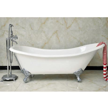 Drayton Cast Iron Bath with Chrome Feet (1690 x 760mm Slipper Roll Top)