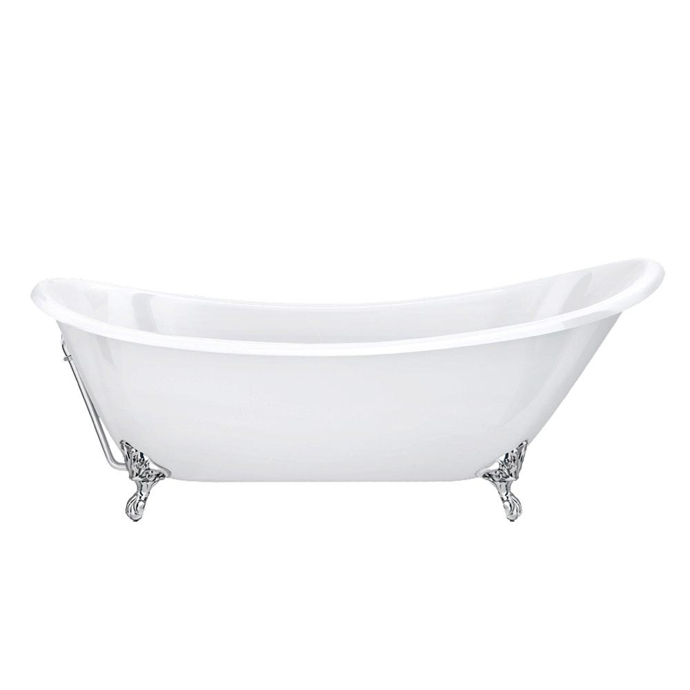 Drayton Cast Iron Bath with Chrome Feet (1690 x 760mm Slipper Roll Top) profile large image view 4
