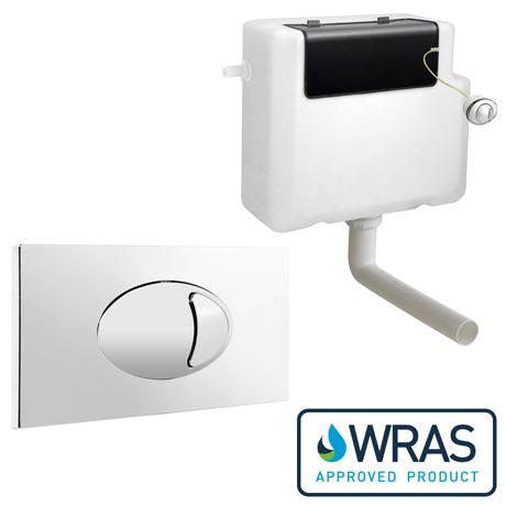 Dual Flush Concealed WC Cistern + Large Chrome Push Button Plate