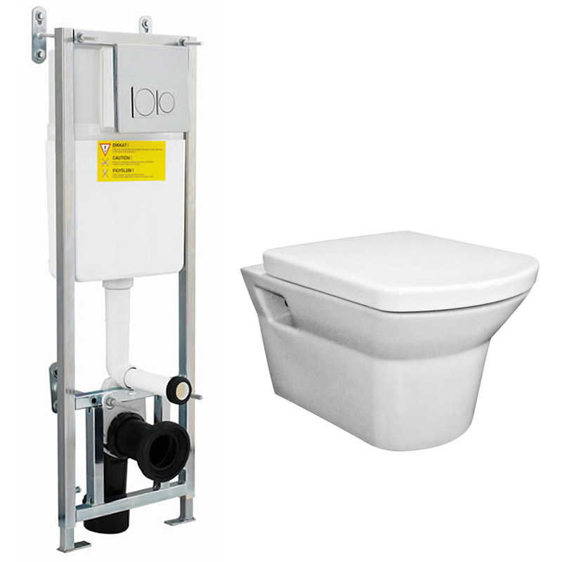 Dual Flush Concealed WC Cistern with Wall Hung Frame & Modern Toilet profile large image view 1