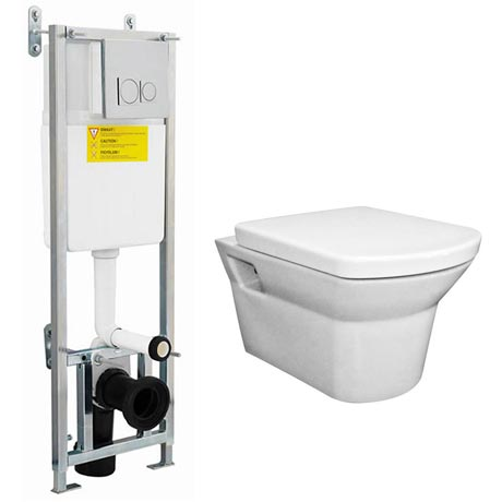 Dual Flush Concealed WC Cistern with Wall Hung Frame & Modern Toilet