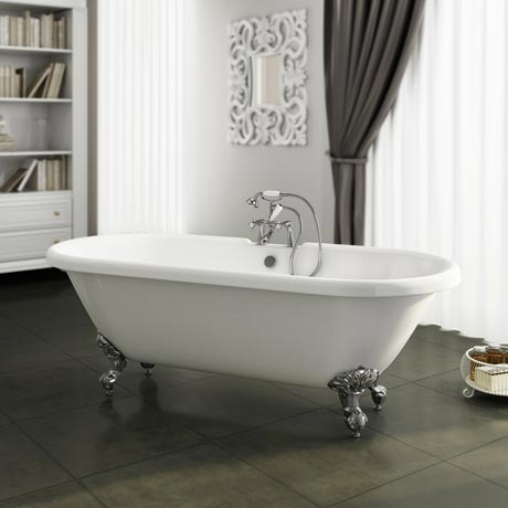 Duke 1695 Double Ended Roll Top Bath + Chrome Leg Set