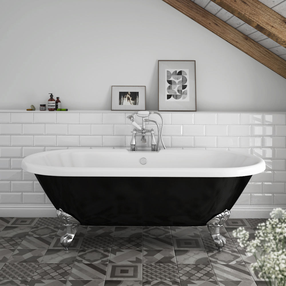 Duke Black 1695 Double Ended Roll Top Bath w. Ball + Claw Leg Set profile large image view 1