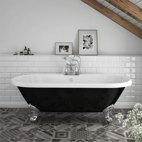 Duke Black 1695 Double Ended Roll Top Bath w. Ball + Claw Leg Set
