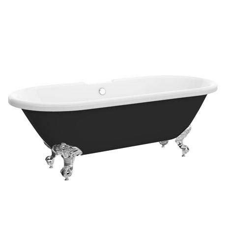 Duke Black 1695 Double Ended Roll Top Bath w. Ball + Claw Leg Set