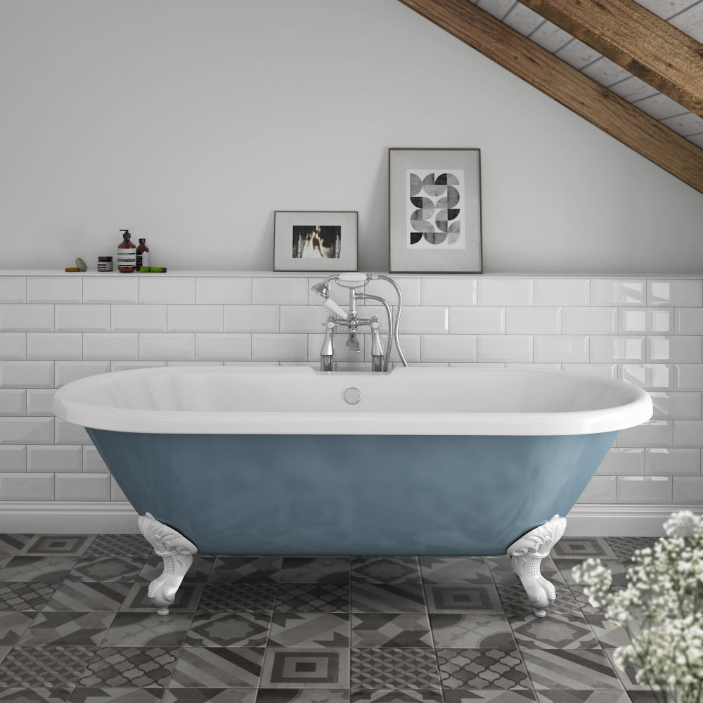 Duke Blue 1695 Double Ended Roll Top Bath w. Ball + Claw Leg Set profile large image view 1