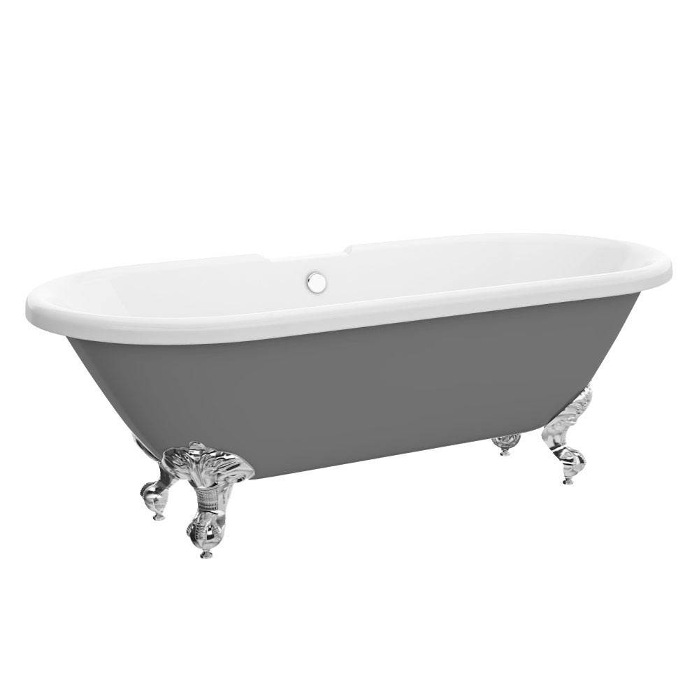 Duke Grey 1695 Double Ended Roll Top Bath w. Ball + Claw Leg Set profile large image view 6