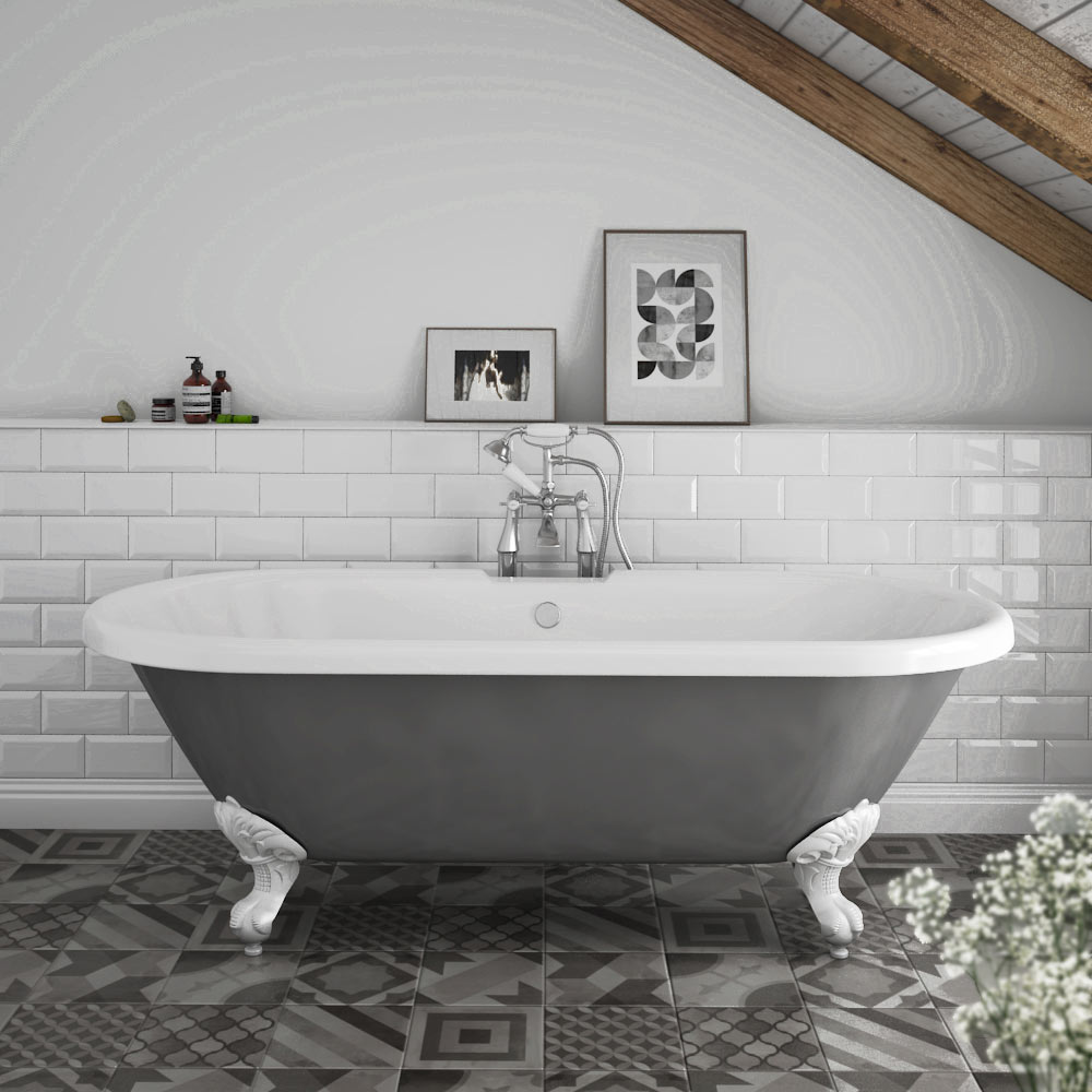 Duke Grey 1695 Double Ended Roll Top Bath w. Ball + Claw ...
