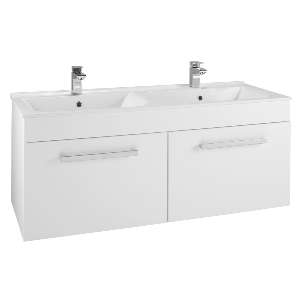 duo his hers wall hung vanity unit white gloss 1250mm wide medium