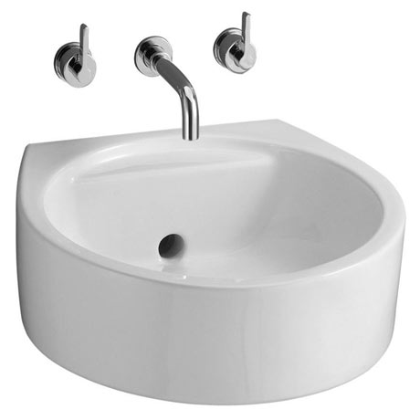 Ideal Standard White Round 45cm Back Outlet Washbasin