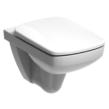 Twyford E100 Square Rimfree Wall Hung WC + Soft Close Seat