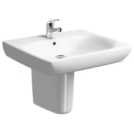 Twyford E100 Square Less Abled 1TH Basin & Semi Pedestal