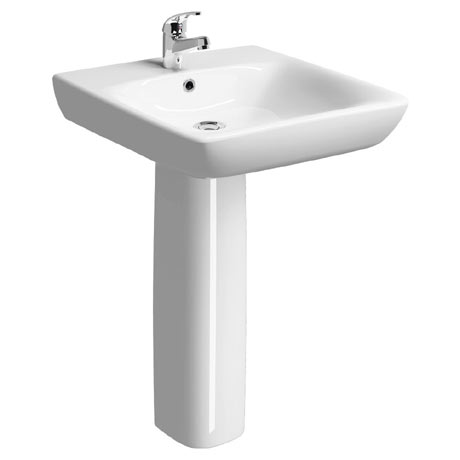 Twyford E100 Square Less Abled 1TH Basin & Pedestal
