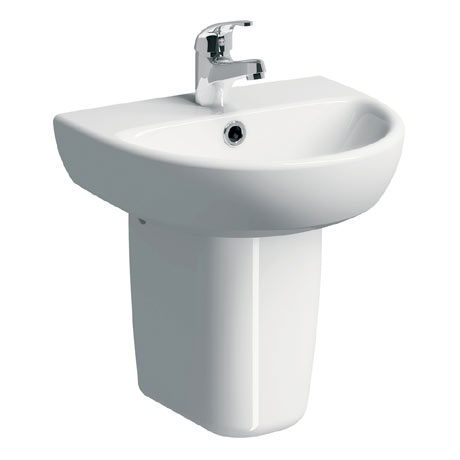 Twyford E100 Round 450mm 1TH Handrinse Basin & Semi Pedestal