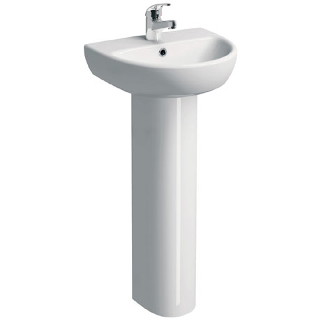 Twyford E100 Round 450mm 1TH Handrinse Basin & Pedestal