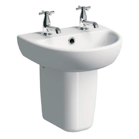 Twyford E100 Round 450mm 2TH Handrinse Basin & Semi Pedestal