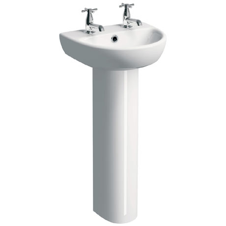 Twyford E100 Round 450mm 2TH Handrinse Basin & Pedestal