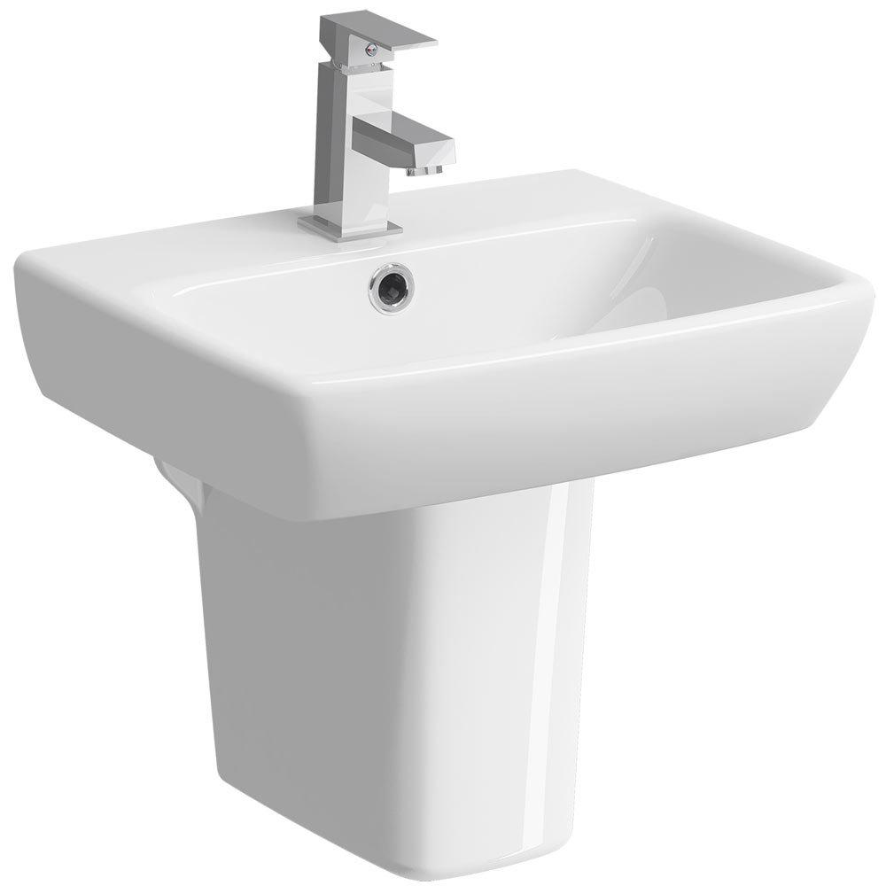 Twyford E100 Square 450mm 1TH Handrinse Basin & Semi Pedestal