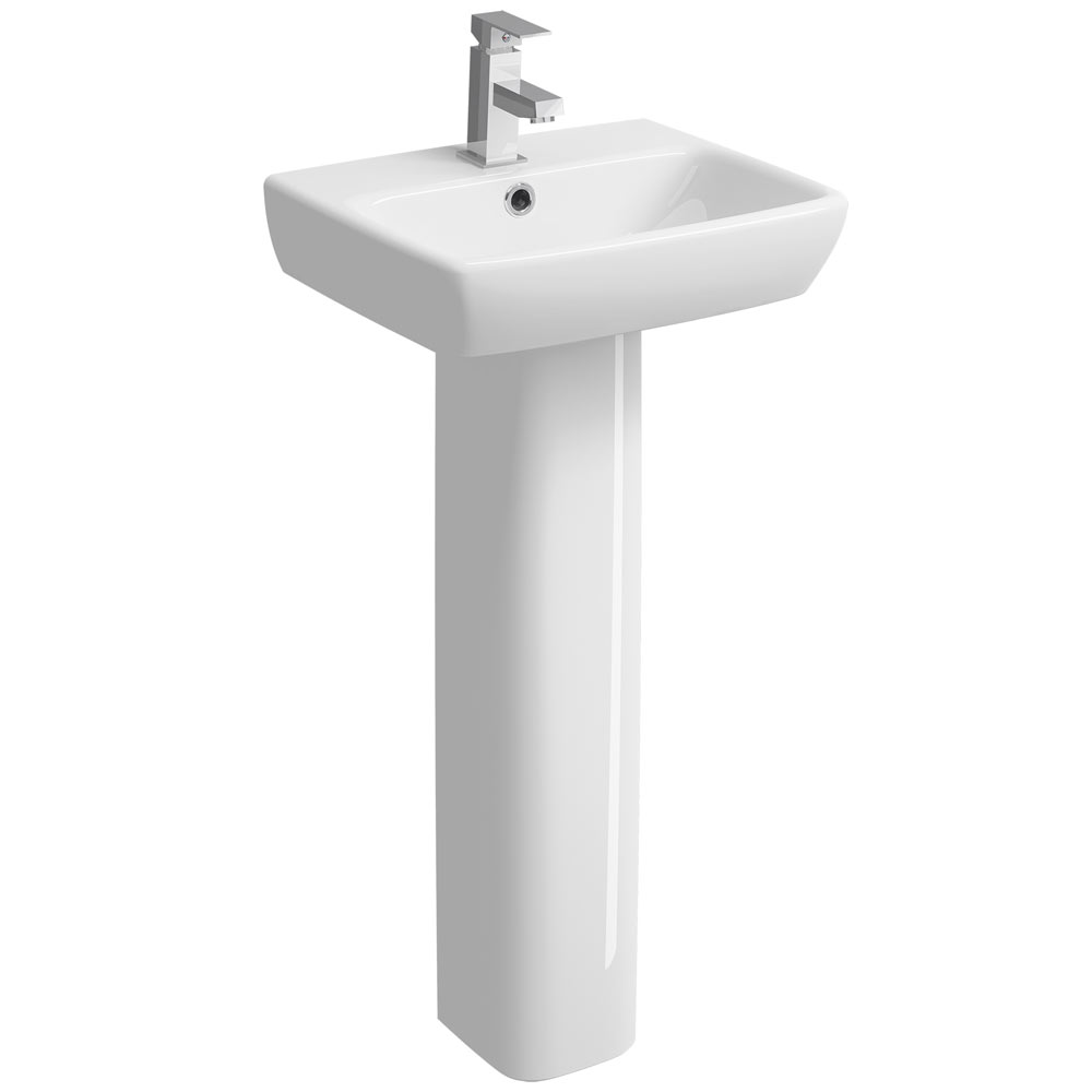 Twyford E100 Square 450mm 1TH Handrinse Basin & Pedestal