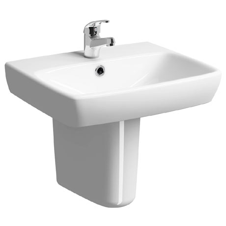 Twyford E100 Square 1TH Basin & Semi Pedestal