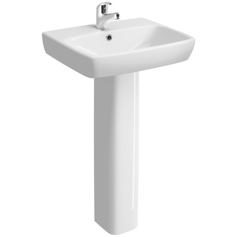 Twyford E100 Square 1TH Basin & Pedestal