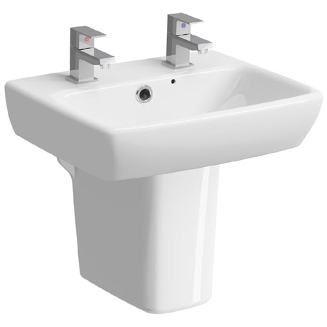 Twyford E100 Square 450mm 2TH Handrinse Basin & Semi Pedestal