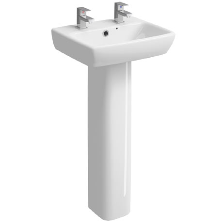Twyford E100 Square 450mm 2TH Handrinse Basin & Pedestal