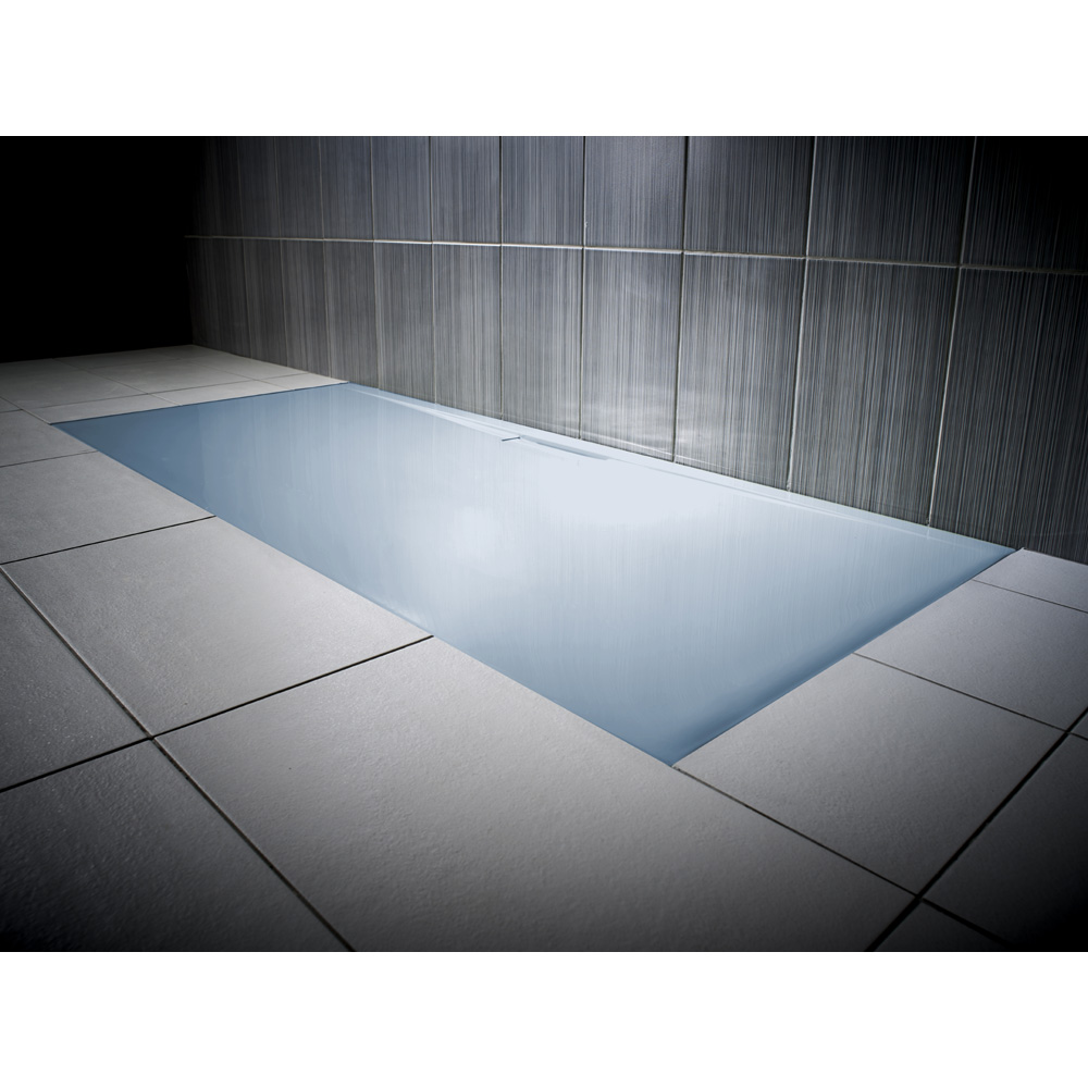 JT Evolved 25mm Rectangular Shower Tray - Pastel Blue - A stylish blue coloured shower tray - ideal for colour matching with other bathroom furniture. | 14 Fresh Shower Ideas