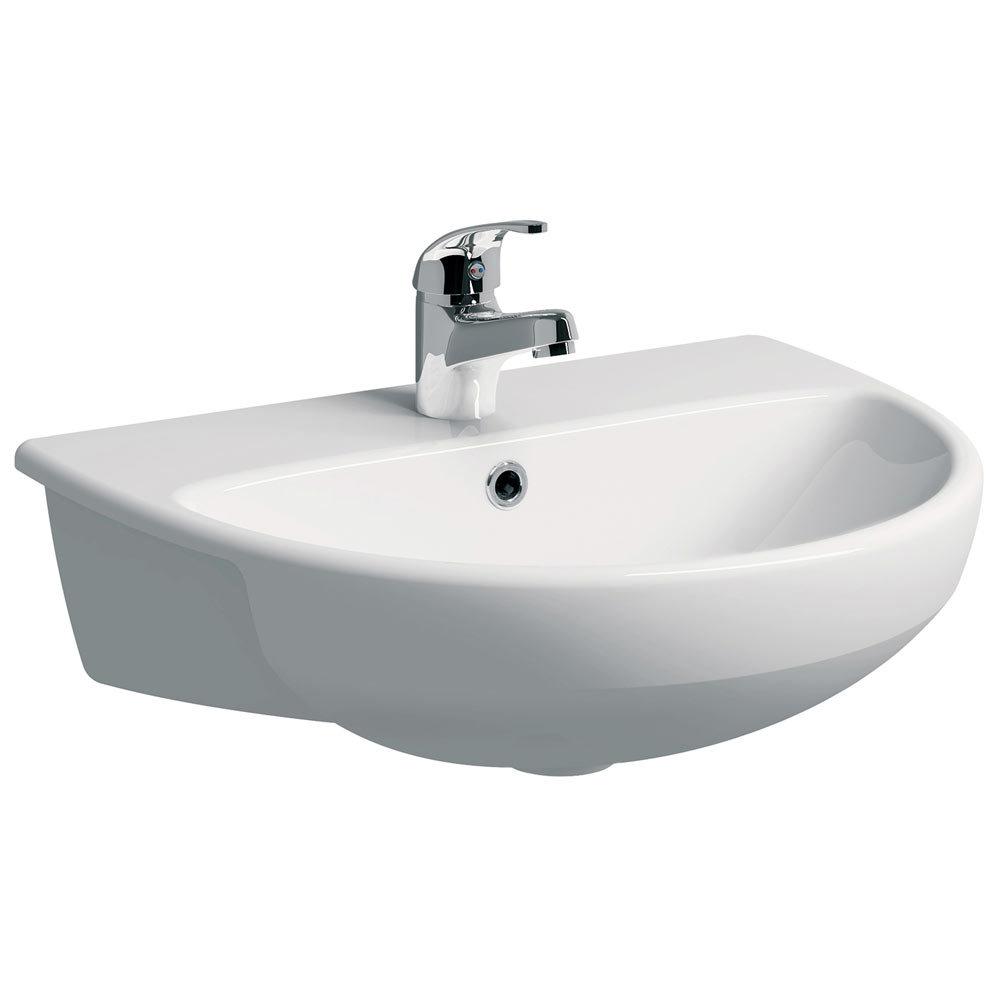 Twyford E100 Round 1TH Semi Recessed Basin