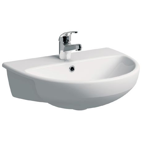 Twyford E100 Round 1TH Semi Recessed Basin
