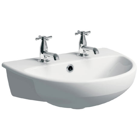 Twyford E100 Round 2TH Semi Recessed Basin
