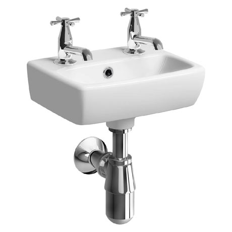 Twyford E100 Square 360mm 2TH Handrinse Basin