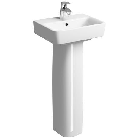 Twyford E200 450mm 1TH Handrinse Basin & Pedestal