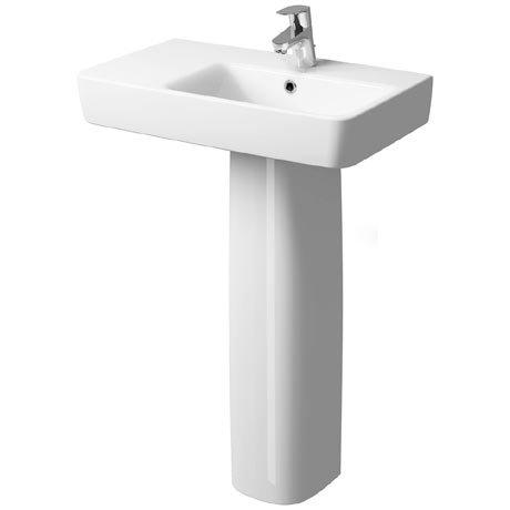 Twyford E200 Short Projection 650 x 370mm 1TH Basin & Pedestal (Left Hand Shelf)