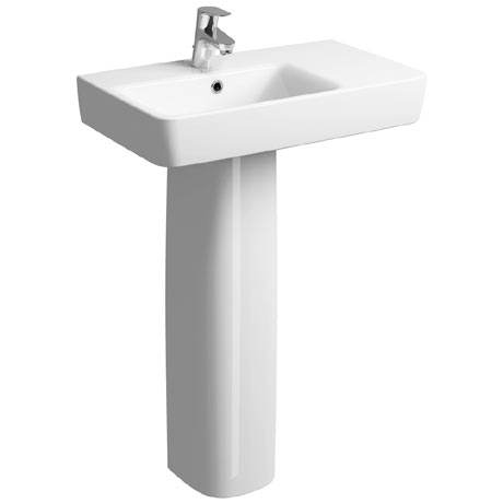 Twyford E200 Short Projection 650 x 370mm 1TH Basin & Pedestal (Right Hand Shelf)