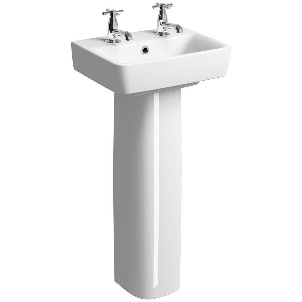 Twyford E200 450mm 2TH Handrinse Basin & Pedestal