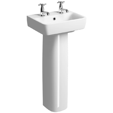 Twyford E200 450mm 2TH Handrinse Basin & Pedestal