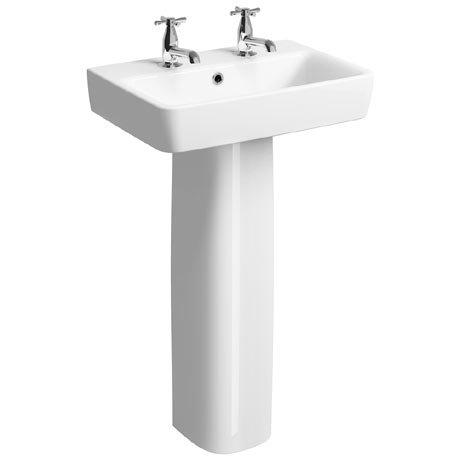 Twyford E200 Short Projection 2TH Basin & Pedestal