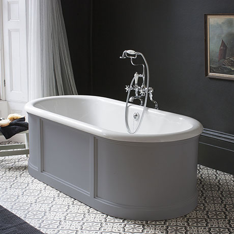 Burlington London 1800mm Bath with Curved Surround & Waste - Classic Grey