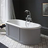 Burlington London 1800mm Bath with Curved Surround & Waste - Classic Grey profile small image view 1