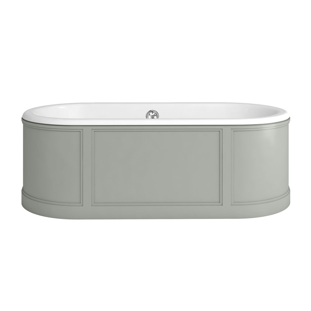 Burlington London 1800mm Bath with Curved Surround & Waste - Dark Olive profile large image view 1