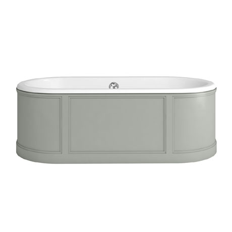 Burlington London 1800mm Bath with Curved Surround & Waste - Dark Olive