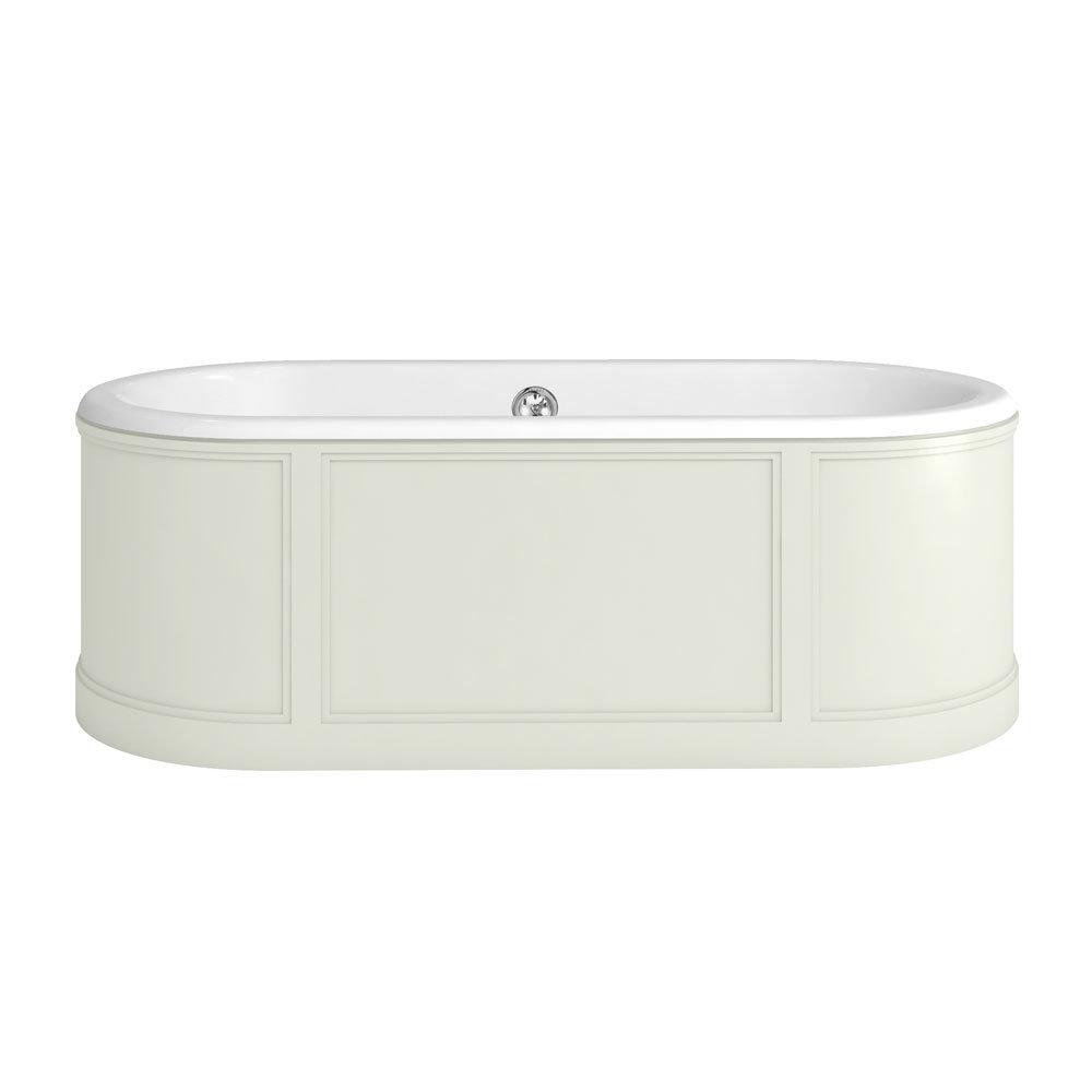 Burlington London 1800mm Bath with Curved Surround & Waste - Sand Large Image