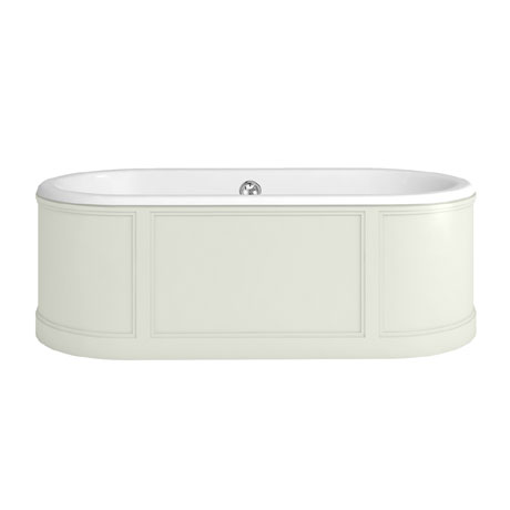 Burlington London 1800mm Bath with Curved Surround & Waste - Sand