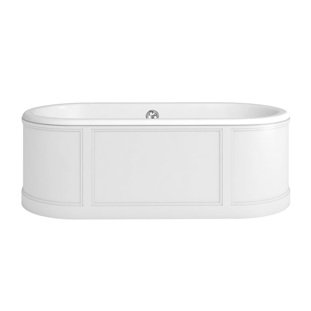 Burlington London 1800mm Bath with Curved Surround & Waste - Matt White profile large image view 1