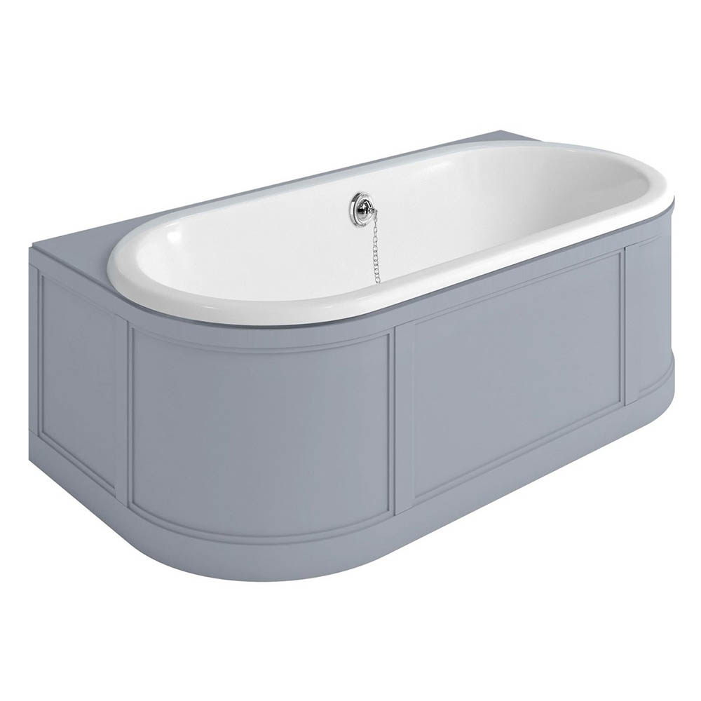 Burlington London 1800mm Back to Wall Bath with Curved Surround & Waste - Classic Grey