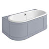 Burlington London 1800mm Back to Wall Bath with Curved Surround & Waste - Classic Grey profile small image view 1