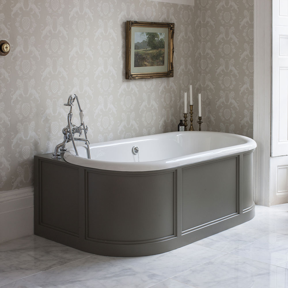 Burlington London 1800mm Back to Wall Bath with Curved Surround & Waste - Dark Olive Profile Large Image